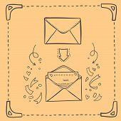 Hand drawn sketch illustration - love letter