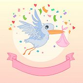 Hand drawn illustration - Stork brought newborn. Vector