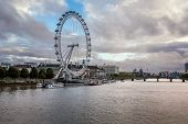 South Bank Of The River Thames And London Skyline In The Evening, United Kingdom