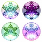 foto of transpiration  - Decorative globes with snowflakes on white background - JPG