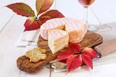 Autumn Composition: Red Leaves, French Cheese And Wineglass