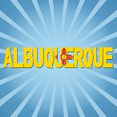 Albuquerque flag text with sunburst illustration