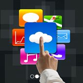 Forefinger Pointing At Cloud Computing With Colorful App Icons