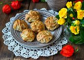 Pastries On A Brown Wooden Background
