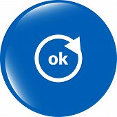 Ok Word On Sign Web Icon. Web Button