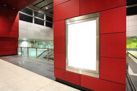 picture of bus-shelter  - Blank billboard in metro station with red wall - JPG