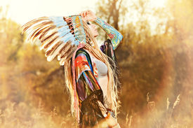 stock photo of indian chief  - Close - JPG