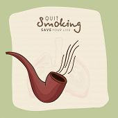 foto of tobacco-pipe  - No Smoking Day concept with tobacco pipe and human lungs on stylish background - JPG