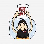 foto of caveman  - Cartoon of a caveman showing not out in Cricket match on white background - JPG