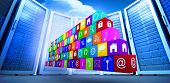 stock photo of wall cloud  - wall of apps against bright blue sky with clouds - JPG