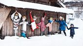 image of scarecrow  - Family of mother and daughter with funny scarecrows at historic Japanese village Shirakawa - JPG