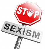 picture of stereotype  - stop sexism no gender discrimination and prejudice or stereotyping for women or men - JPG