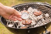 stock photo of thermometer  - Man using meat thermometer while barbecuing on a sunny day - JPG