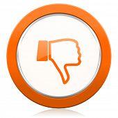 picture of dislike  - dislike orange icon thumb down sign  - JPG