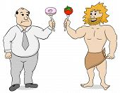 stock photo of obese man  - vector illustration of two men with paleo diet and fast food - JPG
