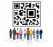 stock photo of qr-code  - QR Code Encoding Technology Online Internet Concept - JPG
