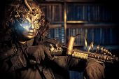 stock photo of mask  - Steampunk man wearing mask with various mechanical devices - JPG