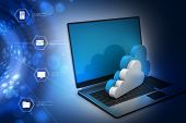 stock photo of transfer  - Transferring information to a cloud network server - JPG