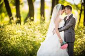 stock photo of joy  - Portrait of a young wedding couple on their wedding day - JPG