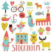 stock photo of gnome  - Lovely Stockholm Sweden set in vector - JPG