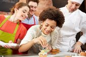 stock photo of pastry chef  - cooking class - JPG