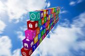 pic of wall cloud  - wall of apps against bright blue sky with clouds - JPG