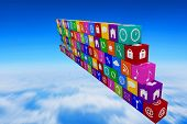 stock photo of wall cloud  - wall of apps against blue sky over clouds at high altitude - JPG