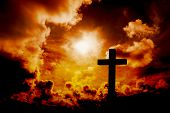 picture of orange  - Wooden cross against orange sky - JPG