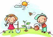 picture of cartoons  - Happy cartoon kids spring activities - JPG
