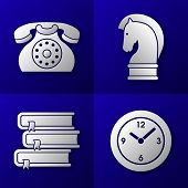 foto of time-piece  - set of business icons on blue background  - JPG