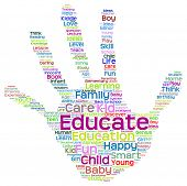 stock photo of education  - Concept conceptual education abstract hand print word cloud - JPG