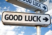 stock photo of fourleaf  - Good Luck direction sign on sky background - JPG