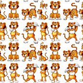 pic of cute tiger  - Seamless tiger in different positions - JPG