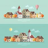 image of urbanization  - Flat design urban landscape - JPG