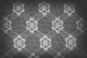 stock photo of doilies  - Handmade lace doily on a black background - JPG