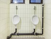 foto of urinate  - urinals in an old building for men only - JPG