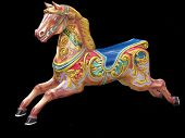 pic of merry-go-round  - Highly colourful Fairground Horse which would be found on a carousel or merry go round on a fairground - JPG