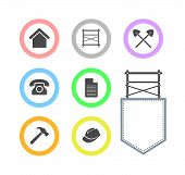 stock photo of scaffold  - Collection of Scaffolding round icons for web site Vector Illustrations isolated on white background - JPG