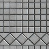 stock photo of paving  - Grey Pave Slabs in the Form of Small Squares and Triangles - JPG