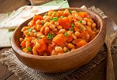 pic of stew  - Stewed white beans and sliced pumpkin in tomato sauce - JPG