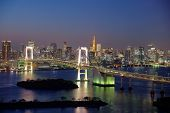 pic of minato  - Tokyo skyline, Rainbow Bridge and Tokyo tower by night