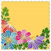 pic of paper cut out  - Springtime Colorful Paper Cut Flower on Yellow Background - JPG