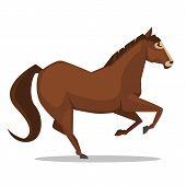 foto of running horse  - Cartoon illustration of the brown horse running - JPG