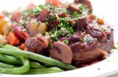 stock photo of beef shank  - braised veal shank osso buco or bucco homemade - JPG