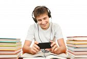 foto of loafers  - Cheerful Student listen the Music with the Books on the White Background - JPG