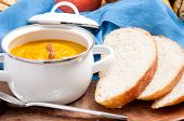 picture of home-made bread  - squash soup with home made artisan bread - JPG