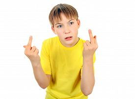 picture of indecent  - Teenager with Middle Finger gesture on the White Background - JPG