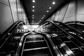 pic of escalator  - interior escalators and stairs in office building - JPG