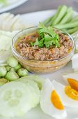 picture of thai cuisine  - Thai cuisine chili paste mixed with shrimp served with various vegetables and eggs - JPG