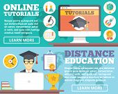 Постер, плакат: Online tutorials distance education flat illustration concepts set